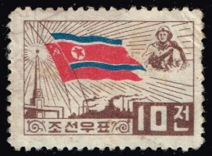 KOREA STAMP 10C FLAG USED STAMP