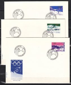 Liechtenstein, Scott cat. 678-680. Winter Olympics on 3 First day covers.^