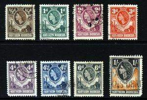 NORTHERN RHODESIA QE II 1953 Elephant & Giraffe Part Set SG 61 to SG 70 VFU