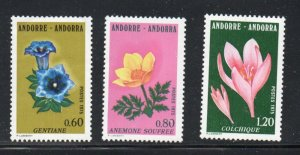 Andorra (Fr) Sc 238-40 1975 Flowers stamp set  mint NH