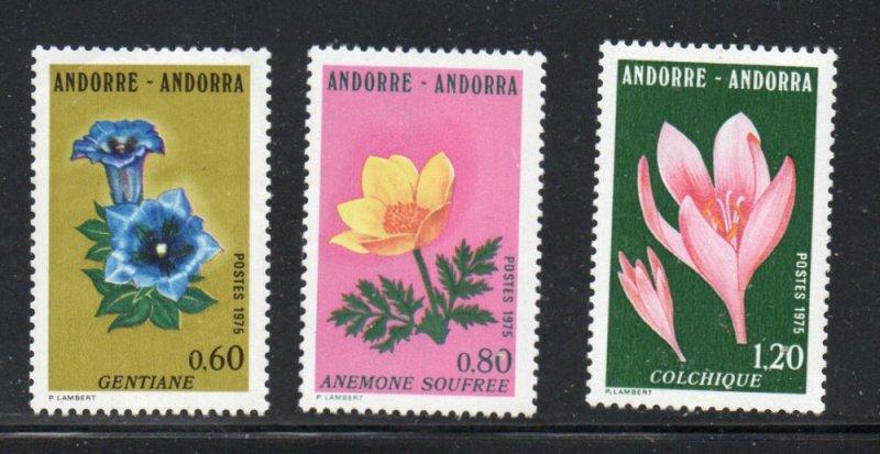 Andorra (Fr) Sc 238-40 1975 Flowers stamp set  mint NH
