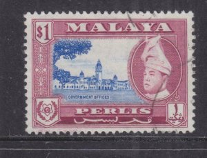 PERLIS, MALAYSIA, 1957 $ 1.00 Ultramarine & Purple, used.