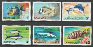 Dominica 1975 Fish Scott # 421 - 426 MH