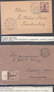 Germany - 1944 Fulda as single franking on 2 covers w/shades (5032)