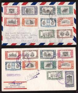 Bolivia, two 1951 La Paz foundation air mail sets on covers       -BN47