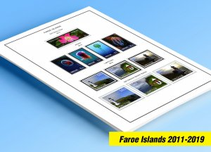 COLOR PRINTED FAROE ISLANDS 2011-2019 STAMP ALBUM PAGES (33 illustrated pages)