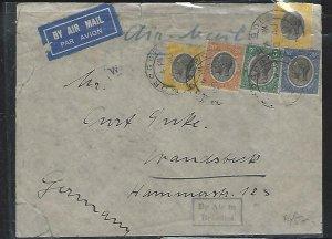 TANGANYIKA (PP2708B)  1934 KGV 5C+10CX2+20C+30C A/M  MOROGORO  TO GERMANY