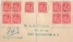 Turks & Caicos Is. 1d KGV Overprinted War Tax (10) 1919 Turks Islands Registe...
