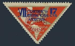 Uruguay C61,hinged.Michel 503. Air Post 1934.Pan-American Conference.Albatross.