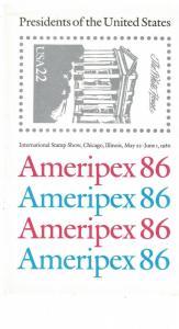 Scott 2216 - 2219 - Ameripex 86. 4 x Souvenir Sheets.  MNH. OG. #02 2219