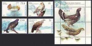Moldova Grouse Bustard Vulture Capercaillie Birds 4v+MS SG#582-MS586