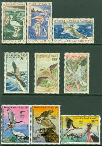 EDW1949SELL : MAURITANIA 1961-76 Scott #C14-16, 29-31, 170-72 Birds. Cplt sets