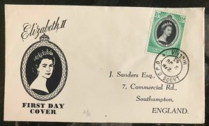 1953 Lagos Nigeria First day Coronation cover FDC Queen Elizabeth II QE2 To UK