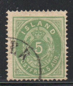 Iceland  Sc 16 1882 5 aur green stamp used
