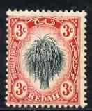 Malaya - Kedah 1912 Rice 3c black & red MCA mounted m...