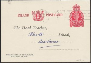 NEW ZEALAND 1966 3d Dept Education postcard used Feilding to Gisborne.......H327
