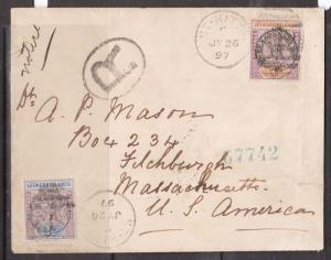 Leeward Islands #11 #12 Very Fine Used On Registered Cover - Very Scarce