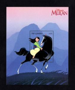 GAMBIA - 1998 - DISNEY - MULAN RIDING KHAN - ANIMATED MOVIE - MINT MNH S/SHEET!
