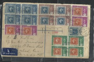 MAURITIUS COVER  (P0111B) 1948 KGVI 20C RLE+ STAMP CENT BL 4 REG A/M TO CANADA