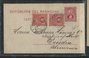 PARAGUAY  (PP2706B) 1892 2C PSC UPRATED 2CX2 VIA BUENOS AIRES TO GERMANY