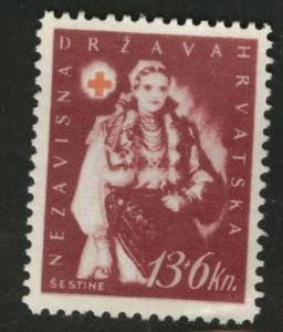 Croatia Scott B24 MH* 1942 perf tip thin