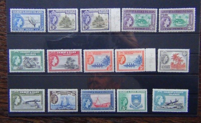Gilbert & Ellice Islands 1956 - 1962 set to 10s VLMM SG64 - SG75