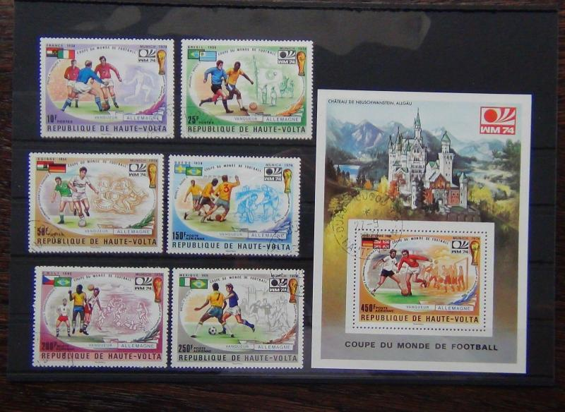 Upper Volta 1974 World Cup set and Miniature sheet VFU