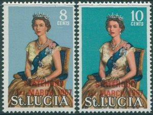 St Lucia 1967 SG232-233 Statehood QEII (2) MNH