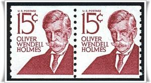 SC#1305E  15¢ Oliver Wendell Holmes Coil Pair: Type 2, Dull Gum (1978) MNH