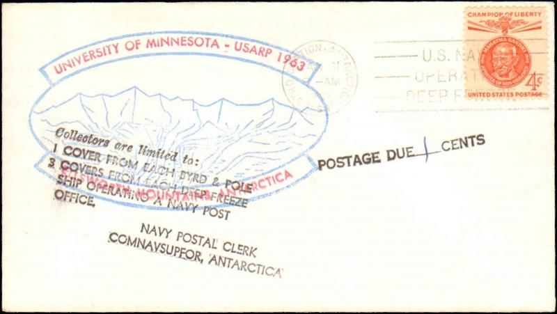 1963 BYRD STATION ANTARCTIC WITH UNIVERSITY OF MINNESOTA CACHET