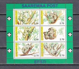 Saaremaa Post, Estonia. 2000 Local issue. Koala Bears sheet of 6.