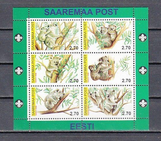 Saaremaa Post, Estonia. 2000 Cinderella issue. Koala Bears sheet of 6.