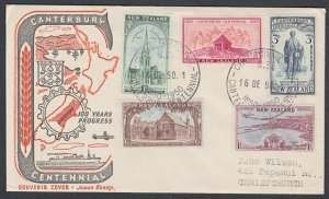 NEW ZEALAND 1950 Canterbury Centennial set on commem cover special pm.......L279