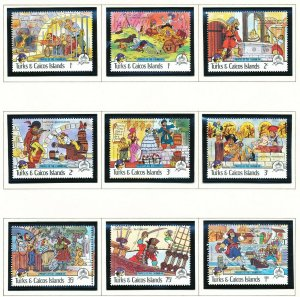 TURKS& CAICOS IS - Scott 695-704 VFMNH - Pirates of Caribbean - 1985 - two scans