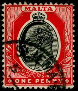 MALTA SG48, 1d black & red, FINE USED.