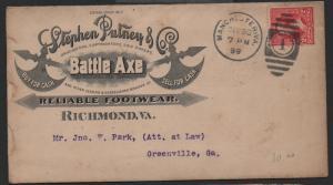 ADV COVER Stephen Putney Battle Axe Footwear Richmond VA Full Ad on Back 1899