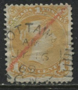 Canada 1868 1 cent yellow orange with July 16th 1869 CDS