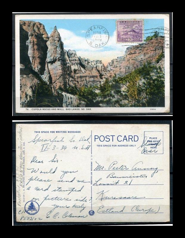 USA Postcard 1933 Used send to Estonia Sc 727