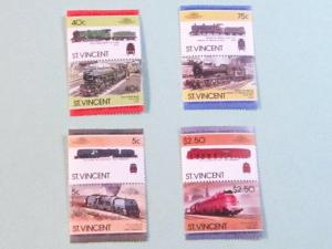 St. Vincent -787-90, MNH Set (Pairs). Locomotives. SCV - $1.85