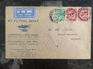 1928 England Flying Boat Calcutta Cover Experimental airmail Belfast Liverpool