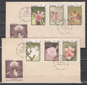 Cuba, Scott cat. 3422-3427. Orchids issue. First day cover. ^
