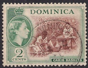 Dominica 1954 - 62 QE2 2ct Brown & Green Carib Basket SG 142 ( F704 )