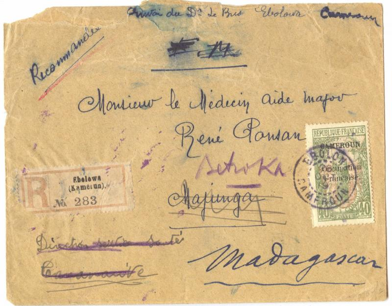 Cameroun 1919, French Occupation, Ebolowa R-Cover to Madagascar, must see
