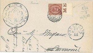 13928  REGNO: BUSTA da BIONE PRESEGLIE  annullo numerale 1826 su Sass 38 1888