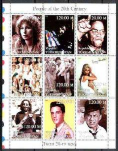 TURKMENISTAN SHEET SINGERS FAMOUS PEOPLE ELVIS SINATRA