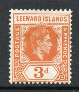 Leeward Islands 1938 KGVI 3d orange chalk paper SG 107 mint CV £35