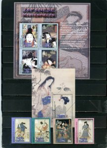 TURKS& CAICOS 2003 JAPANESE PAINTINGS SET & SHEET OF 4 STAMPS & S/S MNH