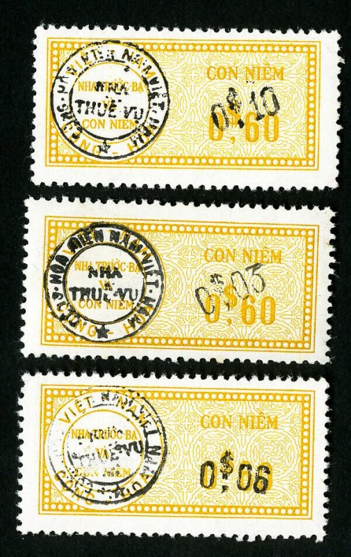 Vietnam Stamps Rare Korea Surcharge Lot of 3 Different Issues