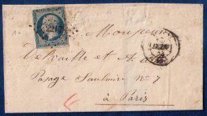 FRANCE (1853) Sc #11 Postal Cover Sur Lettre Paris Cancellation F-VF