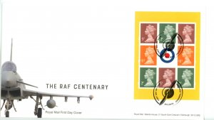 Great Britain 2018 FDC Royal Air Force Centenary Machin Sheet or Booklet Pane